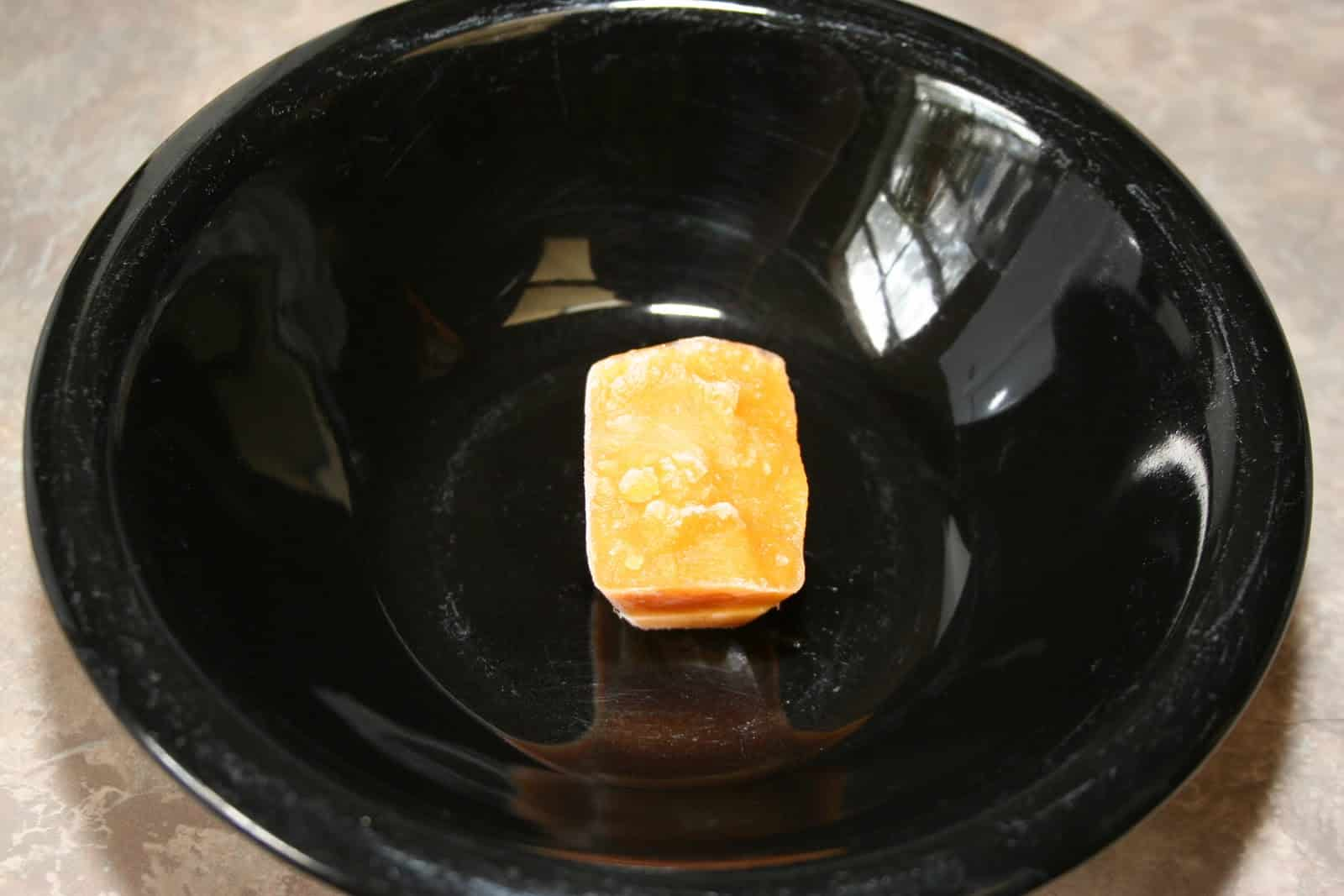 Frozen cube before going in microwave. Heat 1-2 minutes.
