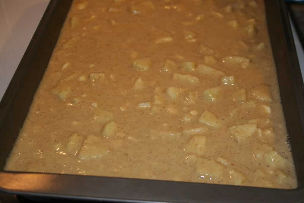 Apple Pecan Coffee Cake batter in pan