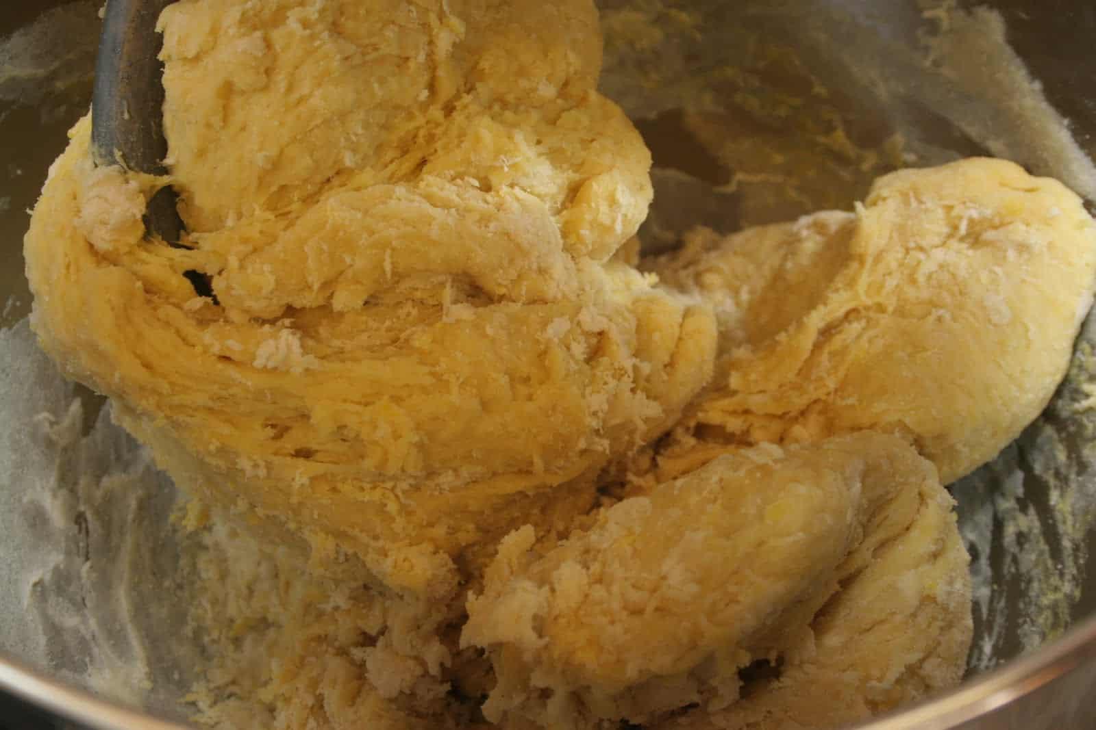 Challah bread dough being mixed