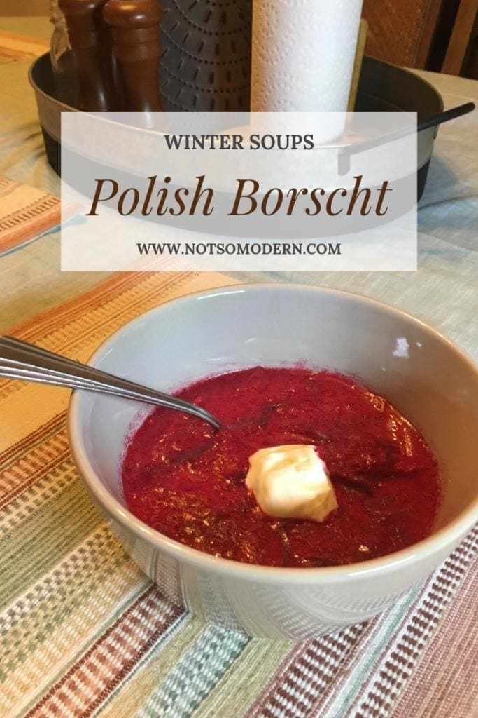 Polish borscht soup is made with beets, pork spareribs, and sour cream. It's highly nutritious and great for cold winter nights. #soup #comfortfood #fromscratch