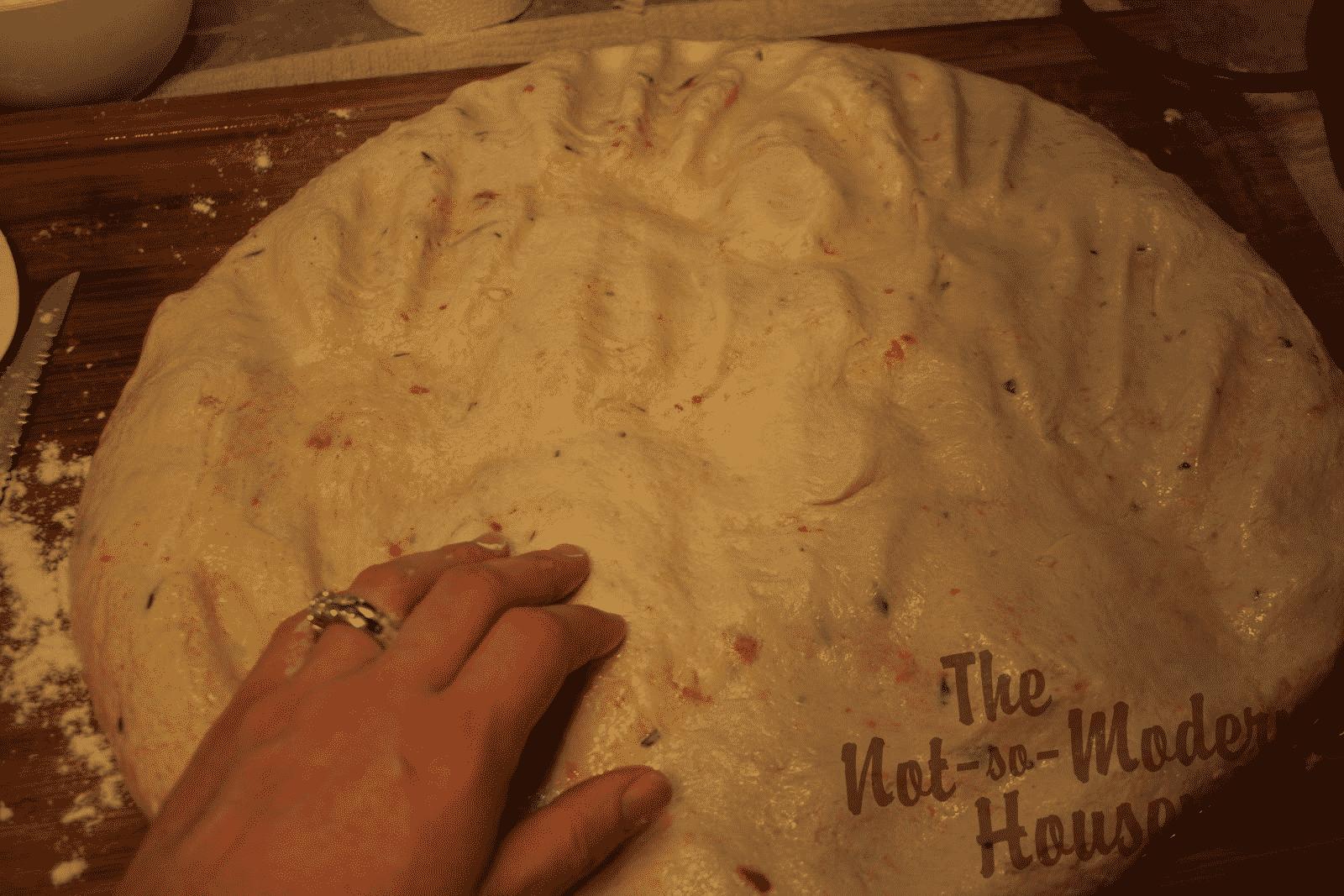 degassing bread dough