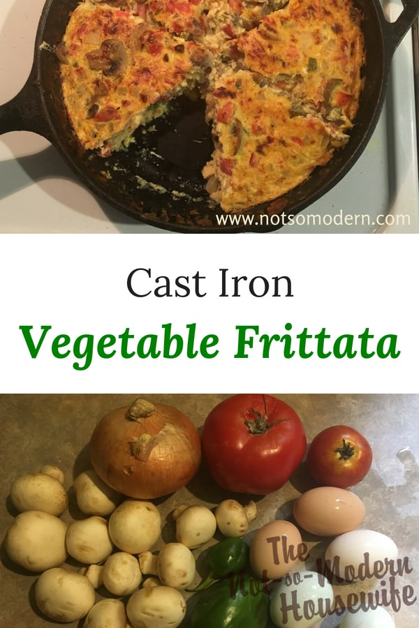 Summer is a time of excess eggs and vegetable. With such an abundance of both, it's a great time to combine the two in a vegetable frittata. As a base, I like to use onions, peppers, and tomatoes. This recipe also calls for sliced mushrooms because they are a favorite for my family. You'll also notice that I added some sliced eggplant in these pictures because I happened to have just picked one in my garden. Experiment to find the best combinations for your family.