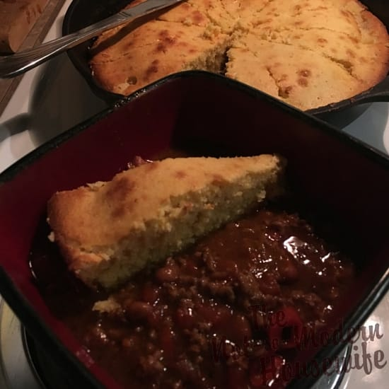 Cast Iron Cornbread with chili - The Not So Modern Housewife