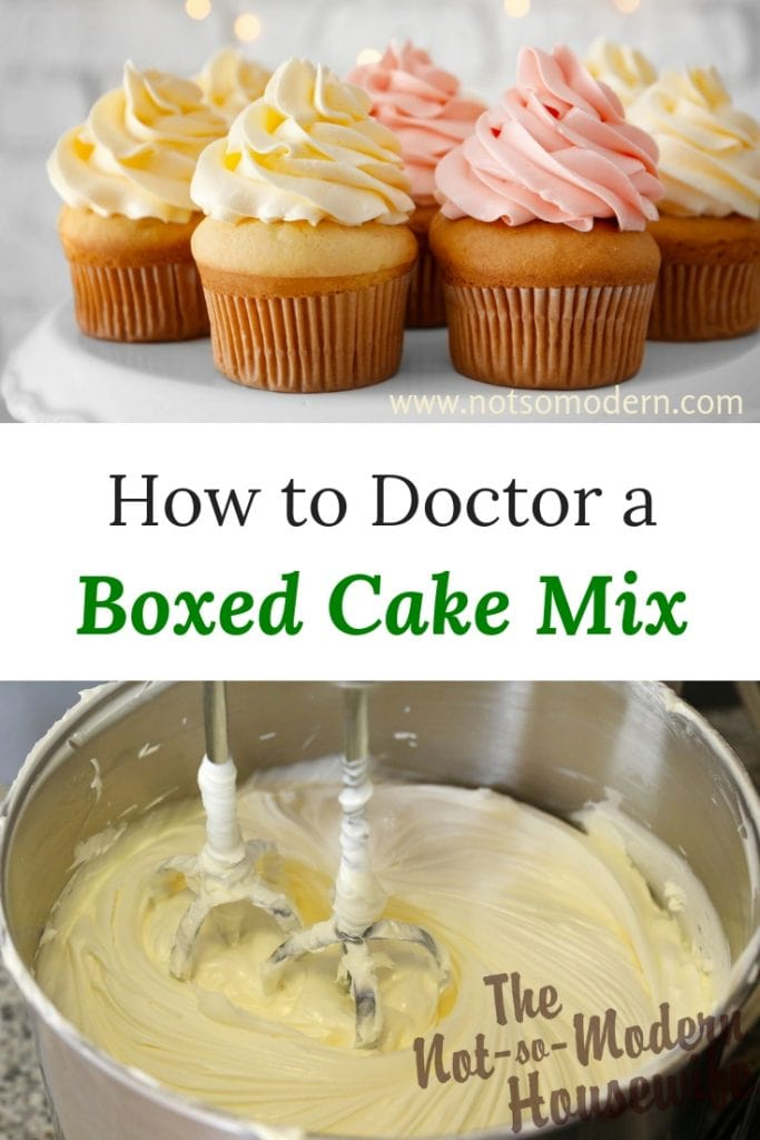 Decorated cupcakes and cake batter in a mixing bowl with beaters - How to Doctor a Boxed Cake Mix