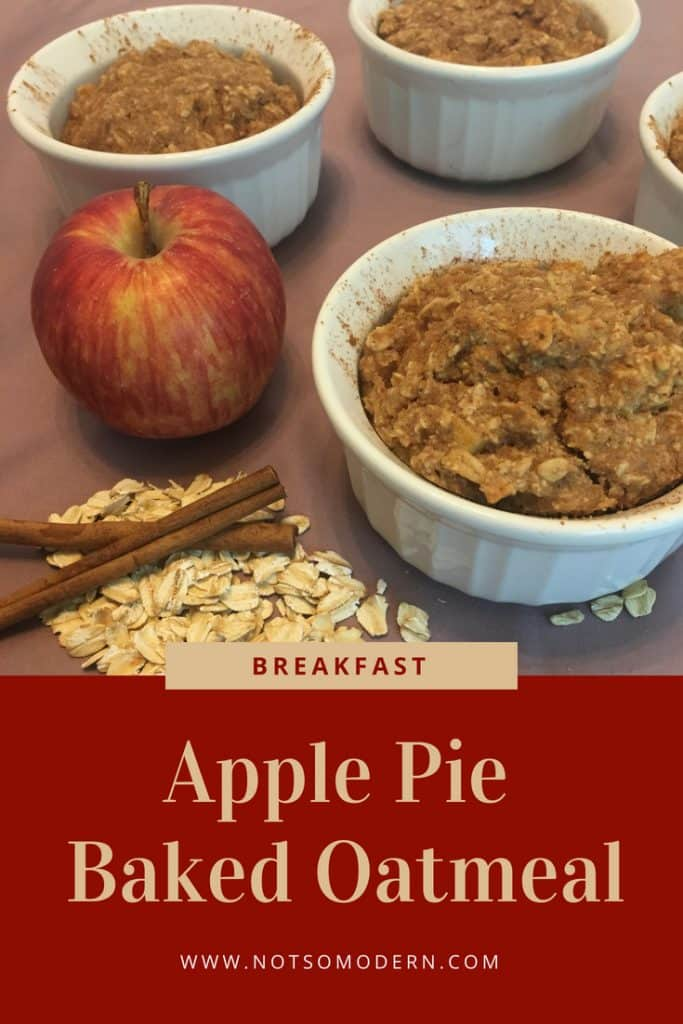 Apple Pie Baked Oatmeal is a delicious breakfast that gives you a taste of fall, with it's soft apple pieces and warm hint of cinnamon. The individual servings make it perfect for portion control, or just a convenient way to serve it to your family. It can also be baked ahead and reheated for a quick and convenient breakfast on the go.