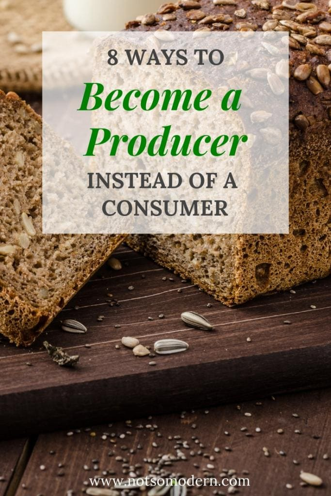 Fresh baked bread and seeds on cutting board - 8 Ways to Become a Producer Instead of a Consumer
