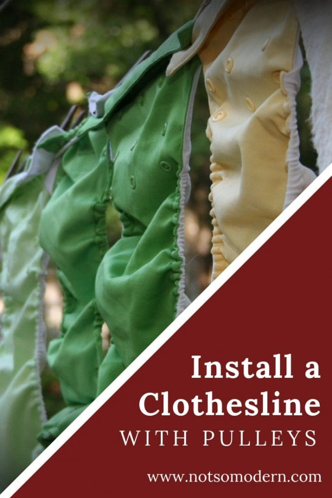 Install a clothesline with pulleys - cloth diapers drying on a clothesline