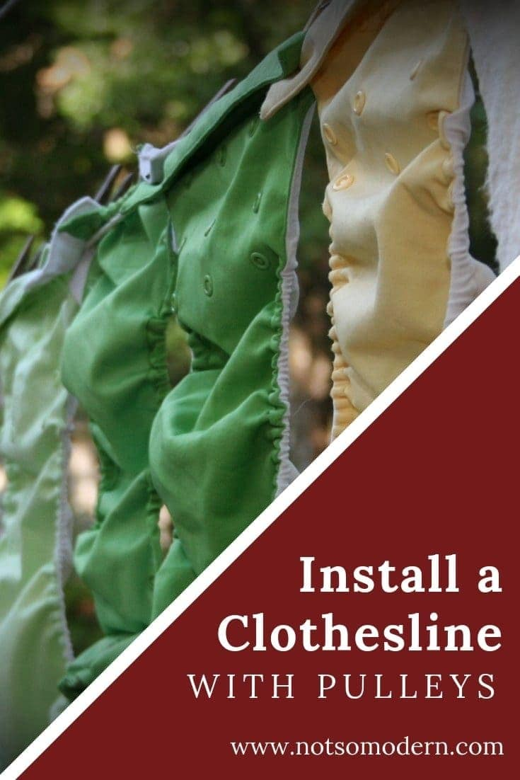 A pulley clothesline is an easy way to save money on your electric bill. In this tutorial, you'll learn how to install a clothesline on your home using pulleys to save you time, effort, and energy with your laundry routine. #diy #laundry #earthfriendly