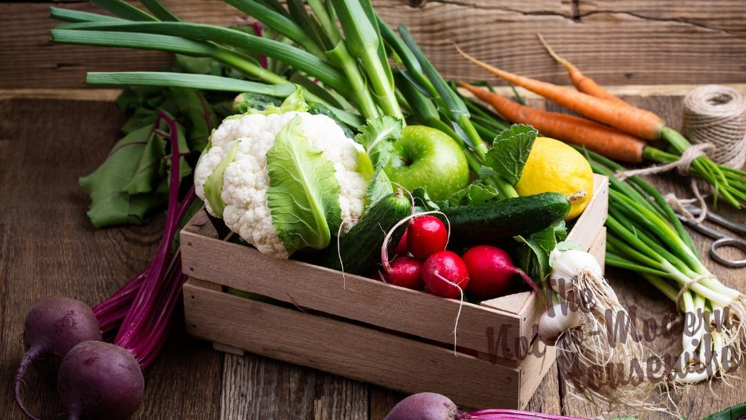Wooden rustic box of fruits and vegetables